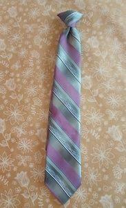 Gray Lavender Stripe Clip On Tie